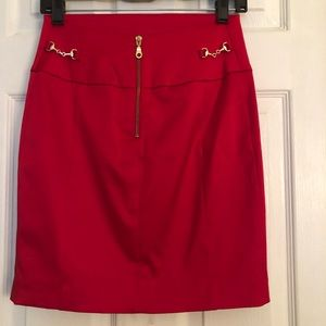 Express red satin pencil skirt size 0